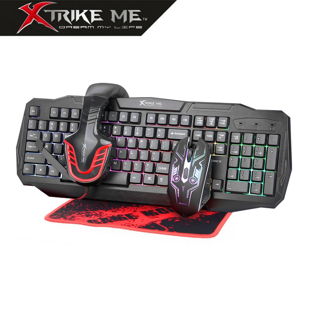 Kit GamingCombo para PC CM407 4en1 ratón retroiluminado/auricular con micrófono/teclado español/alfonbrilla de ratón